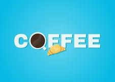 Het concept van de koffie Kop van koffie en croissant Stock Foto's