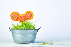 Het concept van de lente De bloem van de suikergoedlolly in bloempot met gras Royalty-vrije Stock Foto's