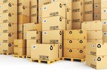 Het concept van de levering dozen op pallet Ruimte voor tekst Stock Afbeelding