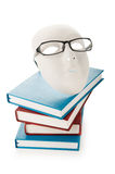 Het concept van de lezing met maskers, boeken Stock Fotografie