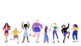 Het Concept van de lichaamspositiviteit Alle organismen zijn goede organismen Vector illustratie Vrouwen van verschillende rassen royalty-vrije illustratie