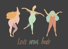 Het Concept van de lichaamspositiviteit Gelukkige meisjes in beenkappen Geplaatste voorwerpen Vector vlakke illustratie royalty-vrije illustratie