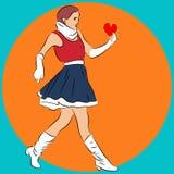 Het concept van de liefde Een meisje houdt ter beschikking het hart Vector Royalty-vrije Stock Afbeelding