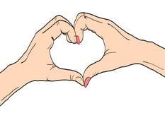 Het concept van de liefde vrouwelijke en mannelijke handen met hartteken Vectorcolo royalty-vrije illustratie