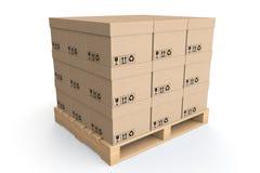Het concept van de logistiek. De dozen van het karton op houten palet Stock Fotografie