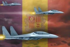 Het concept van de de Luchtmachtstaking van Andorra De aanval van luchtvliegtuigen op de vlagachtergrond van Andorra 3D Illustrat stock illustratie