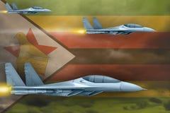 Het concept van de de Luchtmachtstaking van Zimbabwe De aanval van luchtvliegtuigen op de vlagachtergrond van Zimbabwe 3D Illustr royalty-vrije stock foto's
