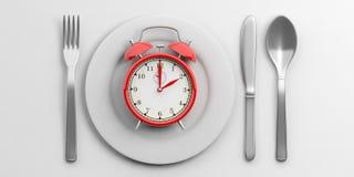 Het concept van de lunchtijd op witte achtergrond 3D Illustratie Stock Afbeelding