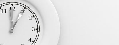 Het concept van de lunchtijd op witte achtergrond 3D Illustratie Stock Fotografie