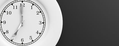 Het concept van de lunchtijd op zwarte achtergrond 3D Illustratie Stock Fotografie