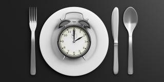 Het concept van de lunchtijd op zwarte achtergrond 3D Illustratie Royalty-vrije Stock Foto's