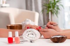Het concept van de manicure De mooie rode spijkers van de vrouwen` s hand wiith in het kuuroord Royalty-vrije Stock Foto