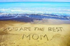 Het concept van de moeder` s dag op zand Royalty-vrije Stock Foto