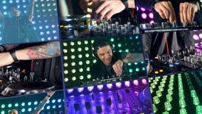 Het concept van de nachtclub DJ in dichte mening draait knoppen met beide handen stock footage