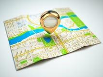 Het concept van de navigatie GPS-kaart van de stad en de gouden speld Stock Afbeelding