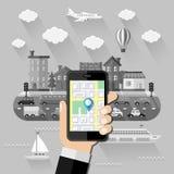 Het concept van de navigatie Vlak Ontwerp Royalty-vrije Stock Afbeeldingen