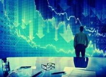 Het Concept van de Neerstortingsfinanciën van zakenmanstock market crisis Royalty-vrije Stock Afbeeldingen