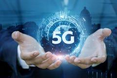 Het concept van de netwerkverbinding 5G stock afbeelding