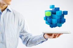 Het concept van de nieuwe technologieintegratie Gemengde media Stock Foto