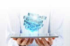 Het concept van de nieuwe technologieintegratie Gemengde media Stock Foto's