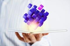 Het concept van de nieuwe technologieintegratie Gemengde media Stock Afbeelding