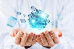 Het concept van de nieuwe technologieintegratie Gemengde media Royalty-vrije Stock Foto's