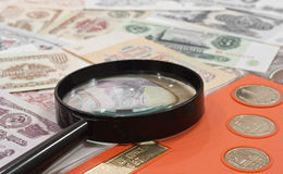 Het concept van de numismatiek Stock Foto