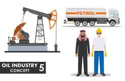 Het Concept van de olieindustrie Gedetailleerde illustratie van benzinevrachtwagen, oliepomp, zakenman, ingenieur en Arabische me stock illustratie