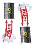 Het concept van de olieindustrie met Vat Olieprijzen het uitgaan Vector illustratie van ruwe olie en dollarteken met pijl royalty-vrije stock afbeeldingen