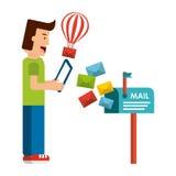 Het concept van de post een postbrief die @ heeft ondertekent op het Stock Foto's