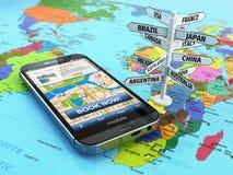 Het concept van de reis en van het toerisme Het boeken van hotel door smartphone en dest Stock Foto