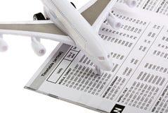 Het concept van de reis - vliegtuigkaartje Stock Foto