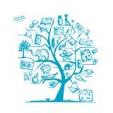 Het concept van de reisboom voor uw ontwerp Stock Afbeelding