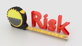 Het concept van de risicometing met band op wit wordt geïsoleerd dat Stock Foto's