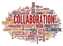 Het concept van de samenwerking in de wolk van de woordmarkering vector illustratie