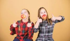 Het concept van de schoolsnack Tienerjaren met gezonde snack Vrolijke jonge geitjes die pret hebben en appelen eten Wij zijn op g stock foto's