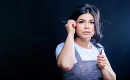Het concept van de schoonheidswinkel Professionele wimperuitbreiding tweezer Make-upkunstenaar Cosmetic tweezer De uitbreidingen  stock fotografie