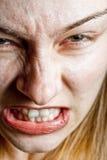 Het concept van de spanning - close-up op boze ontstemde vrouw royalty-vrije stock fotografie