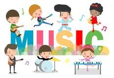Het concept van de spelmuziek kinderengroep Jonge geitjes die muzikale instrumenten, leuke diverse acties spelen die van de kindm stock illustratie