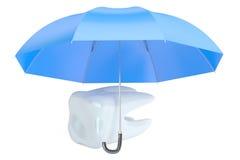 Het concept van de tandenbescherming met paraplu, het 3D teruggeven Stock Foto's