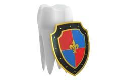 Het concept van de tandenbescherming met schild, het 3D teruggeven Stock Afbeelding