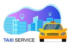 Het concept van de taxidienst Taxiauto en Cityscape Vector banner stock illustratie