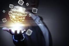 Het concept van de technologieintegratie Gemengde media Stock Foto
