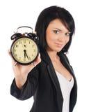 Het concept van de tijd. Bedrijfs vrouwenklok Royalty-vrije Stock Foto's