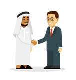 Het concept van de transactiehanddruk met Saoediger - Arabische en Europese zakenmankarakters in vlakke die stijl op wit wordt ge Stock Foto's