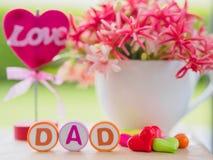 Het Concept van de vader` s Dag LIEFDEdad alfabet stock foto's