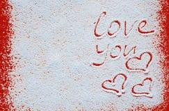 Het concept van de valentijnskaartendag met harten en liefde Stock Fotografie
