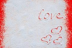 Het concept van de valentijnskaartendag met harten en liefde Stock Foto