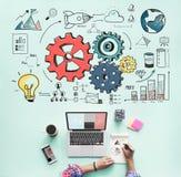Het Concept van de van de bedrijfs radertjegrafiek Systeemanalyse Stock Fotografie
