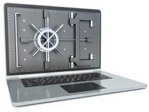 Het concept van de Veiligheid van gegevens Laptop en Combinatieslot 3D beeld ISO Stock Foto's